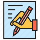 agreement, contract, document, hand, pencil, writing icon