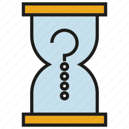 clock, question mark, sand clock, time, wait icon