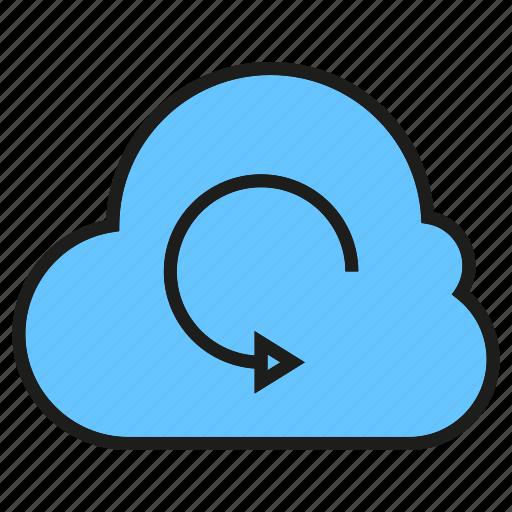 arrow, backup, cloud, network icon