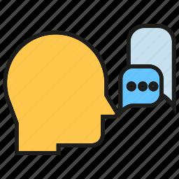 chat, communication, contact, head, speak, speech icon