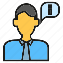 business man, contact, info, people icon