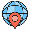 globe, gps, location, pin, world icon