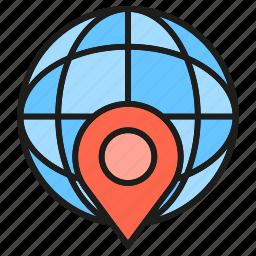globe, gps, location, pin, world icon