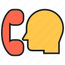 communication, contact, head, people, phone, talk icon
