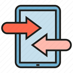 arrow, communication, contact, mobile, phone icon