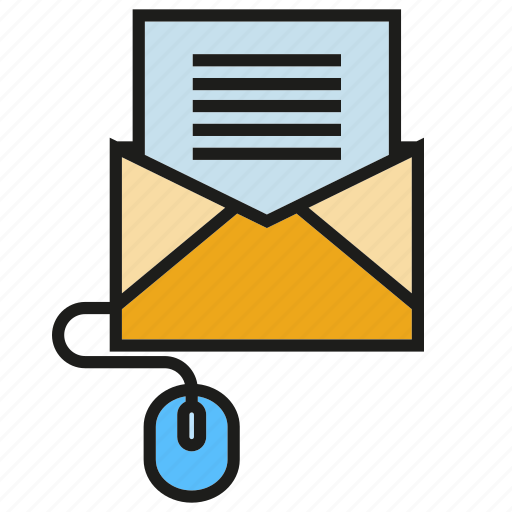 computer mouse, document, email, email marketing, envelope, letter, send icon