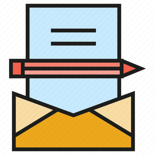 document, email, envelope, letter, pencil icon