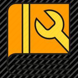 guidebook, handbook, manual, manual book, service, tool, wrench icon