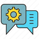 chat, cog, communication, gear, setting, speech bubble, support icon