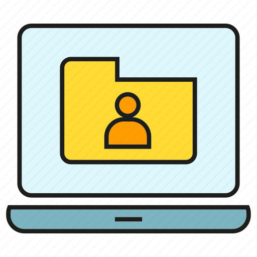 computer, file, folder, info, laptop, portfolio, profile icon