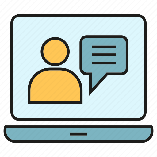 chat, communication, computer, laptop, online conference, online meeting, talking icon