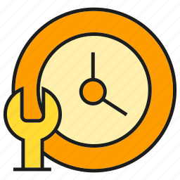 clock, fix, repair, service, support, time, wrench icon