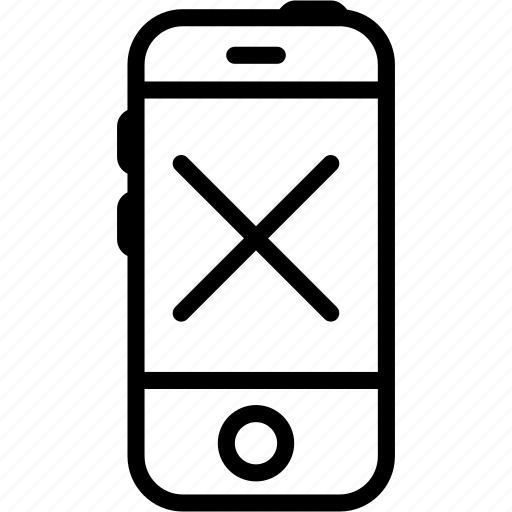 call, crack, cross, iphone, mobile, smartphone, technology icon