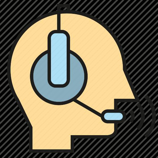 call center, communicate, headphone, operator, service, support, talk icon