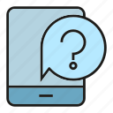 ask, message, mobile, phone, question icon