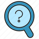 ask, find, magnifier, problem, question, search, solution icon