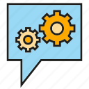 cog, gear, setting, speech bubble icon