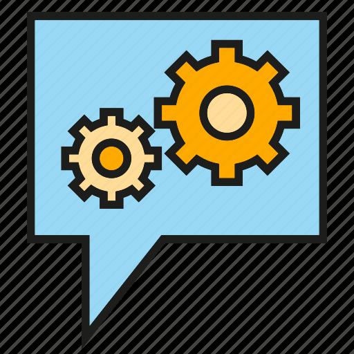 cog, gear, setting, speech bubble icon