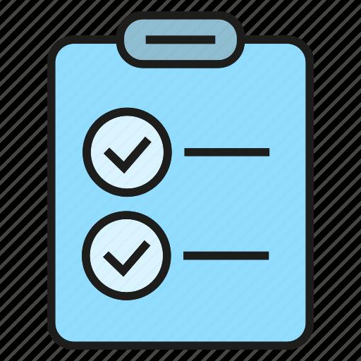 check, clipboard, document, list, paper icon