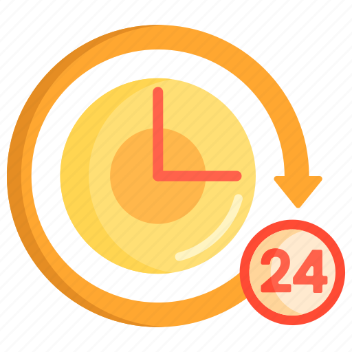 24 hours, around the clock, clock, hours, time icon