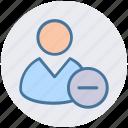 employee, human, man, minus, people, remove, user icon