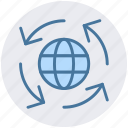 arrow, arrows, global, globe tour, world globe, world tour icon