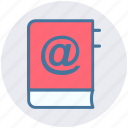 address, agenda, at, book, contact, email, marked icon