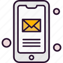 mail, message, mobile, phone