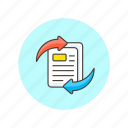 arrow, content, document, exchange, file, note, page, text icon