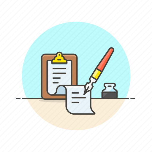 clipboard, content, ink, note, paper, pen, write icon