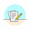 content, document, file, note, paper, pencil, sheet, write icon