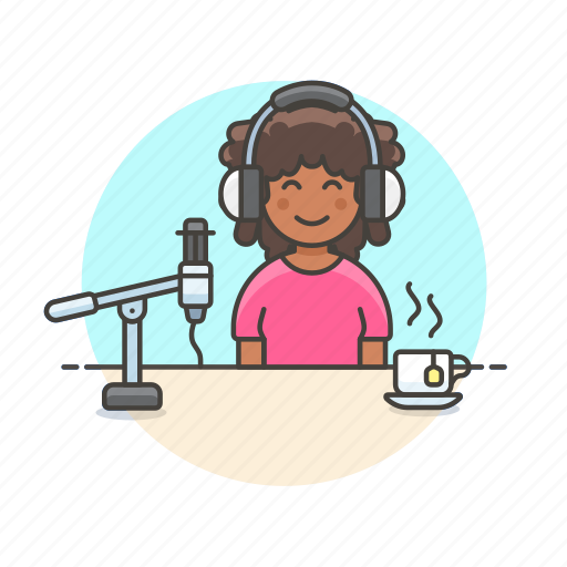 coffee, content, drink, podcast, radio, show, woman, work icon