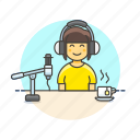content, live, microphone, podcast, radio, show, woman icon