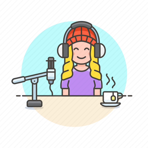 content, drink, live, microphone, podcast, radio, show, woman icon