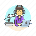 apple, content, live, man, microphone, podcast, radio, show icon