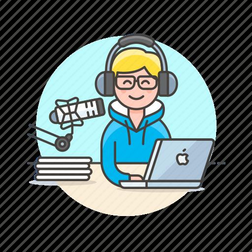 apple, content, live, man, microphone, podcast, radio, show icon