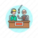 content, couple, debate, live, microphone, podcast, radio, show icon