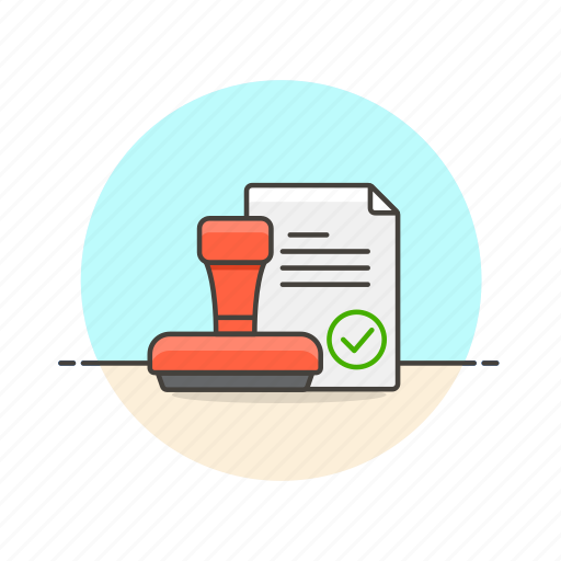 approve, content, document, done, file, sheet, stamp icon