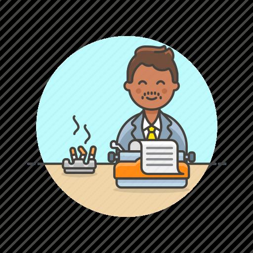 cigarette, content, document, man, paper, type, writer icon