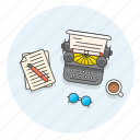 content, desktop, drink, paper, pen, retro, type, writer icon