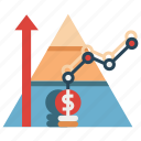 acquisition, base of pyramid, bottom up, business, market, marketing, top down icon