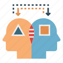 analog thinking, brain, compare, intelligence, mind, process icon