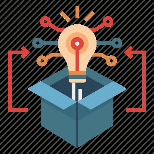 creative, idea, innovation, learning, matrix thinking, outside box, strategy icon