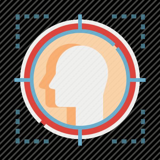 aim, customer, focus, marketing, target, targeted, user icon