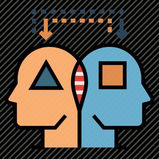 analog thinking, analogy, brain, compare, intellectual, intelligence, process icon