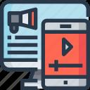 advertising, business, digital marketing, online, video icon