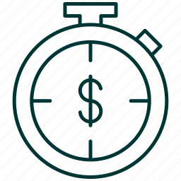 chronometer, clock, dollar, hourly, rate, sign, timekeeper icon