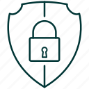 lock, protection, secure, security, shield icon
