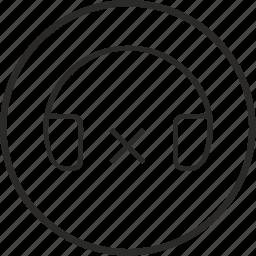 ban, headphones, music, sound, stop icon