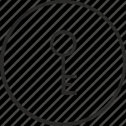 code, key, password, pin, round icon